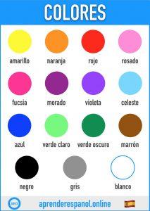 colores en espanol - aprender español online - vocabulario de los colores en español