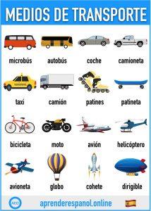 medios de transporte en español - aprender español online - vocabulario de los medios de transporte en español