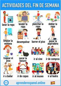 actividades del fin de semana en español - aprender español online - vocabulario de las actividades del fin de semana en español