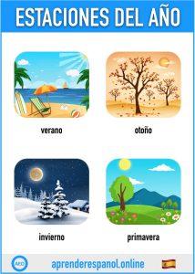 estaciones en español - aprender español online - vocabulario de las estaciones en español
