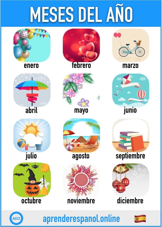 meses en español - aprender español online - vocabulario de los meses en español