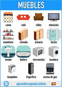 muebles en español - aprender español online - vocabulario de los muebles en español