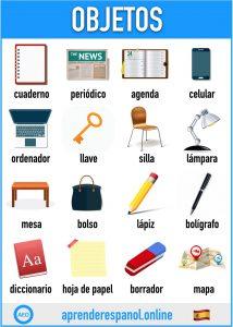 objetos en español - aprender español online - vocabulario de los objetos en español
