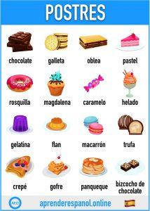 postres en español - aprender español online - vocabulario de los postres en español