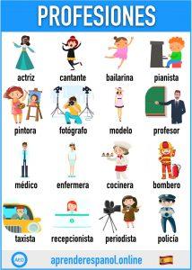 profesiones en español - aprender español online - vocabulario de los profesiones en español