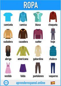 ropa en español - aprender español online - vocabulario de la ropa en español