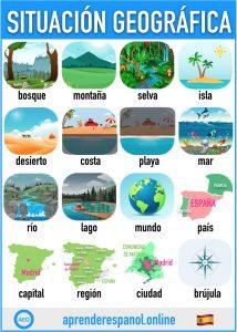 situación geográfica en español - aprender español online - vocabulario de la situación geográfica en español