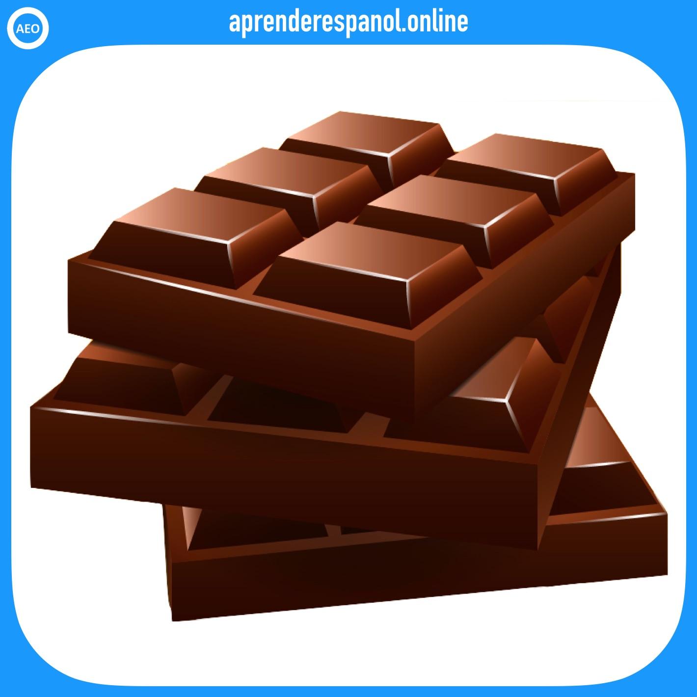 Ejemplo de colores: El chocolate es de color marrón - Vocabulario de colores