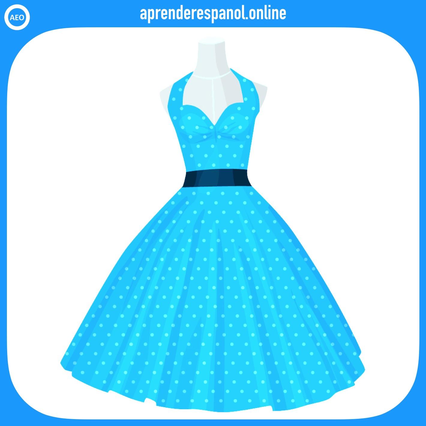 Ejemplo de colores: Un vestido color celeste - Vocabulario de colores
