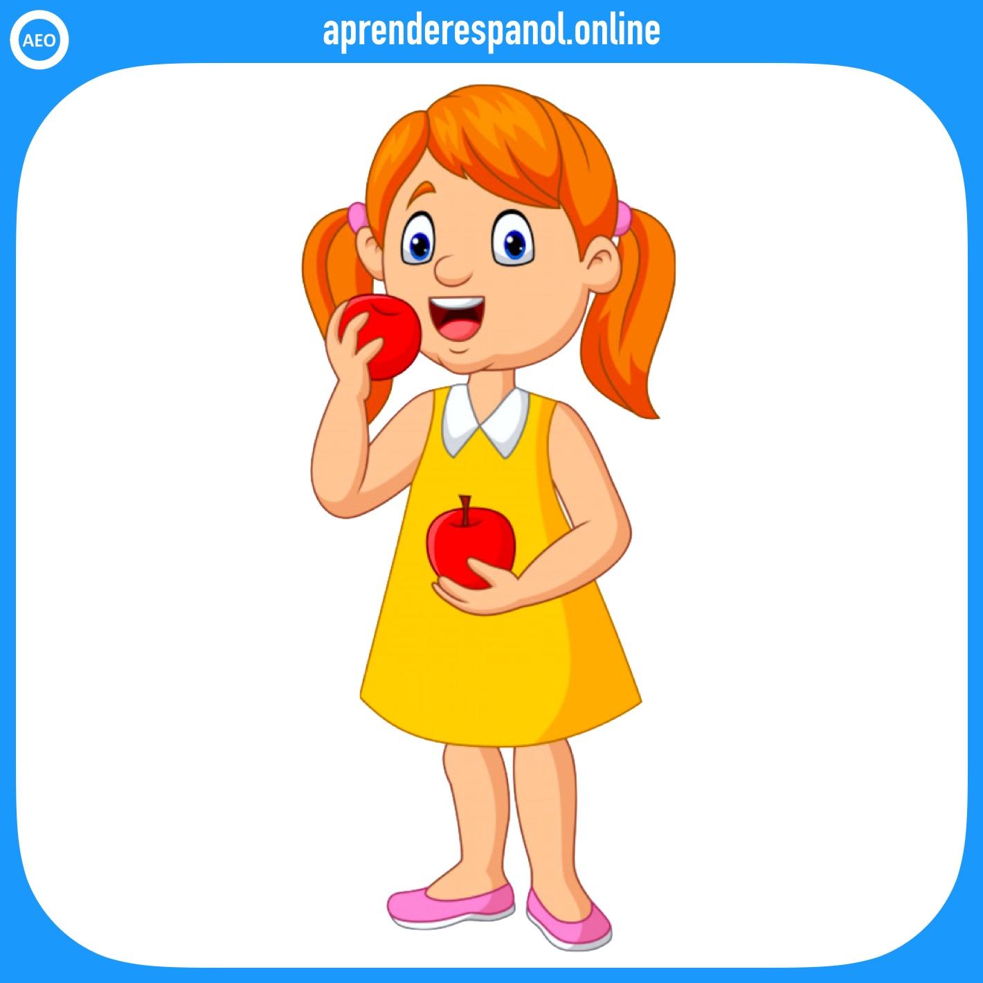 frutas: manzana - frutas en español - vocabulario de las frutas en español