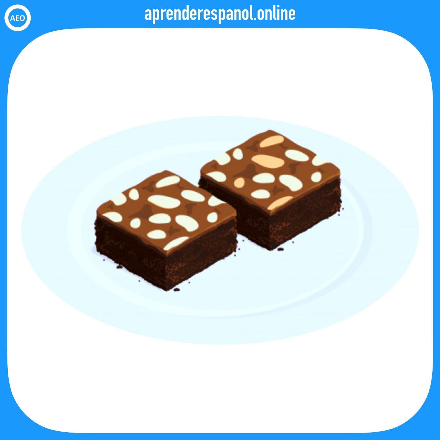 bizcocho de chocolate   postres y dulces en español   vocabulario de los postres en español