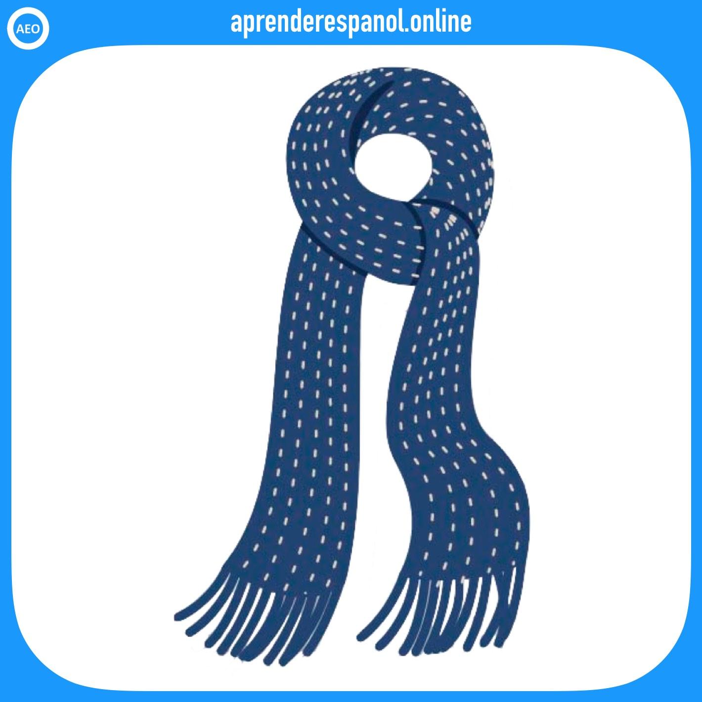 bufanda | ropa en español | vocabulario de la ropa en español