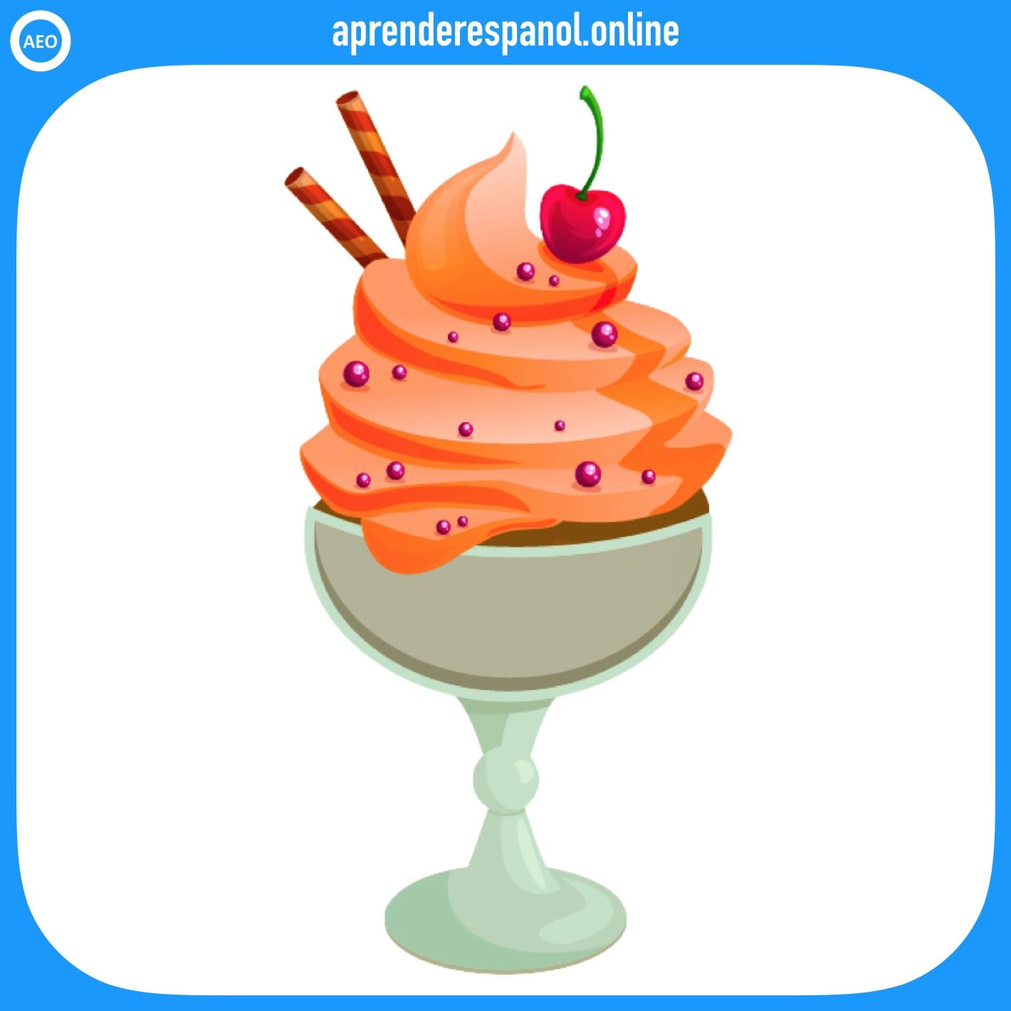 helado   postres y dulces en español   vocabulario de los postres en español