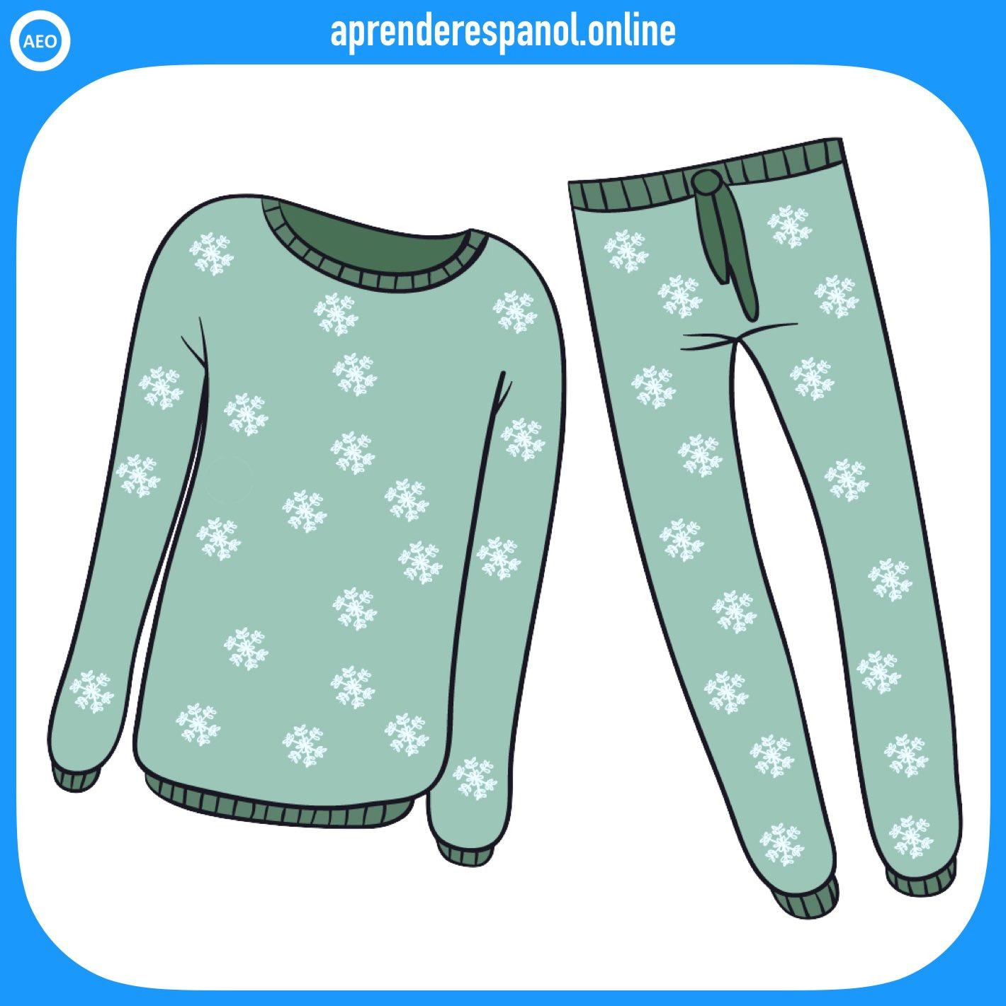 pijama | ropa en español | vocabulario de la ropa en español